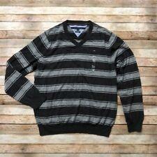 Tommy Hilfiger Mens Grey Striped V Neck Pullover Sweater Pima XL