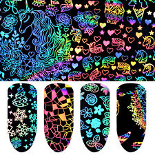8 Sheets Nail Transfer Sticker Tips Laser Star Foil Flower  Nail Art Decoration