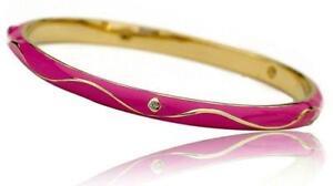 Little Miss Twin Stars 14K Gold Plated Hot Pink Enamel Swirl Bangle