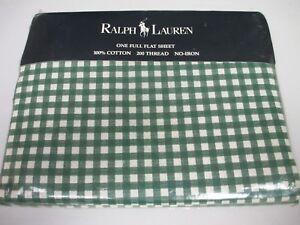 New Ralph Lauren Medium Gingham Forest Green Flat Sheet - Full
