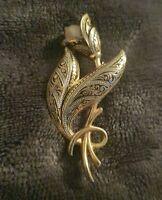 Vintage Goldtone Damascene Toledo PEARL BROOCH tulip flower costume Jewellery