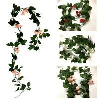 4x1.5m Artificial Silk Rose Flower Leaves Vine Leaf Garland Foliage Home Decor