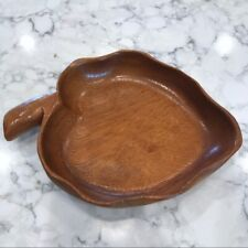 Vintage House of Monkey Pod Hand Carved Leaf Bowl Hawaiian Mid Century Modern