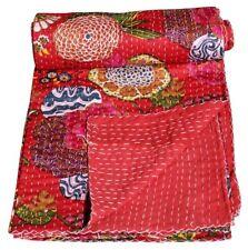 Handmade Indian Kantha Quilt Tropical Bedding Blanket Cotton Bedspread Gudari