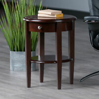 Modern Round 1-Drawer Accent Table Solid Wood Display Storage Nightstand Brown