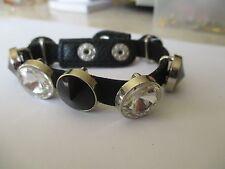 bracelet moderne peau noir avec pierre facette diamant et noir 4443