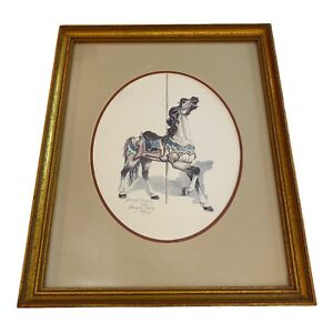 Nancy H. Strailey Print Carousel Horse SIGNED NUMBERED Framed Matted 15 X 12""