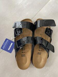 Birkenstock Arizona Sandals Shoes Women's Black Patent Leather Size 37 UK4 NEW
