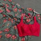 Women New Floral Georgette Digital Flower Printed Saree Sequins Work Sari Blouse