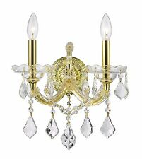 "2-Light Gold Finish D 12"" x H 16"" Odin Clear Crystal Wall Sconce Light"