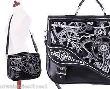 Restyle Handtasche Leder Mechanism Steampunk Tasche Satchel Gothic Bag WGT Black