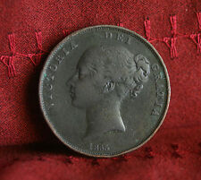1855 Great Britain 1 Penny Copper World Coin Britania Seated KM739 UK England