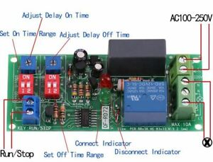 Adjustable ON/OFF Delay Relay switch Infinite Loop Cycle Time Timer, 220V,230V