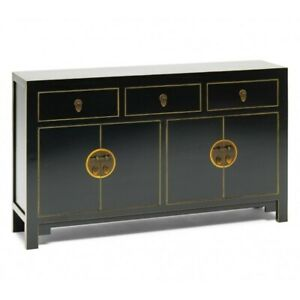 Made to Order Golden Dragon Oriental Painted Solid Wood Black Large Sideboard