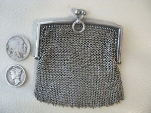 Antique Victorian Châtelaine STERLING SILVER Double FRENCH Mesh Coin Purse 1890s