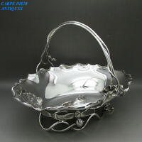 VICTORIAN STUNNING ART NOUVEAU SOLID STERLING SILVER FRUIT BASKET, LONDON 1886