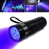 Mini Aluminum UV Ultra Violet 9 LED Flashlight Handlight Torch Light Lamp Black