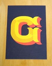 JESSICA HISCHE TYPOGRAPHIC POSTCARD ~ DAILY DROP CAPITAL LETTER G ~ GOLD ~ NEW