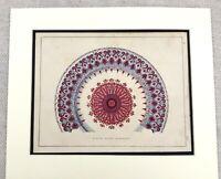 1859 Imprimé The Alhambra Architectural Peint Porcelaine Plaque Antique Original