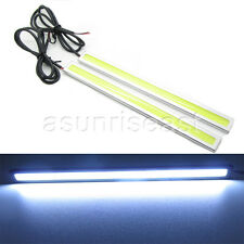 2 x White COB Car LED Light DRL Daytime Runing Driving Fog Lamp Silver Aluminum
