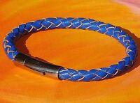Mens / ladies 6mm blue braided leather & stainless steel bracelet - Lyme Bay Art