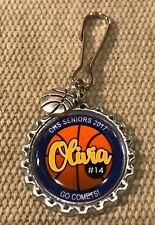 Personalized BASKETBALL Bottle Cap Name Zipper Pull Pendant Tag - Team gift