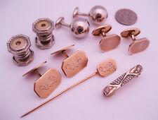 Antique Victorian Art Deco Gold Cufflinks Engraved Rhinestone Snap Buttons Lot