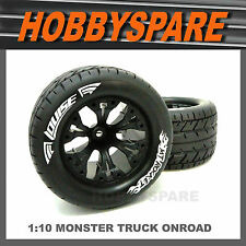 LOUISE 1/10 RC MONSTER TRUCK ROCKET ONROAD WHEEL & TYRE JATO RUSTLER 12mm HEX