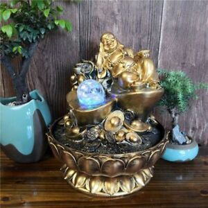 Home Ornaments Waterfall Indoor Decoration Buddha Design Water Fountain Led Glow