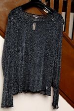 VICTORIA'S SECRET SEE-THROUGH BLACK SPARKLY DRESSY SHIRT $38 LONG SLEEVES  M/L