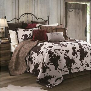 Elsa Cowhide Print Quilted Cotton Country Western Farmhouse King 3-Piece Set