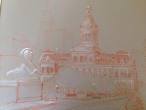 Vtg 1970 Baltimore City Hall Original Scetch Pastel Drawing Art Wilson Matted