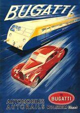 Bugatti Auto Lokomotiv Motoren Plakat von 1938 Faksimile 33 auf Büttenpapier