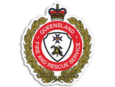 4x4 inch Queensland Fire Crest Shaped Sticker - decal logo australia firefighter