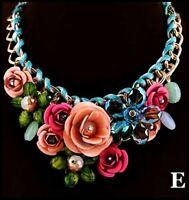 SUPER Collier métal doré, cristal, fleurs, bleu, rose, vert, bijoux fantaisie E