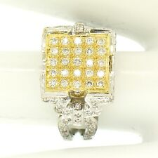 18k Two Tone Solid Gold 1.10ctw Round Pave Diamond Square Cocktail Ring