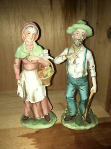 Home Interiors HOMCO Porcelain Old Man & Woman Farmer Figurines Large