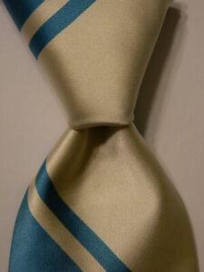 ROBERT TALBOTT Best of Class Men's 100% Silk Necktie USA STRIPED Blue/Ivory NWD