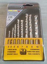8Pc Masonry Hammer Drill Bit Set 3,4,5,6,7,8,9,10mm Brick Concrete Plaster Stone
