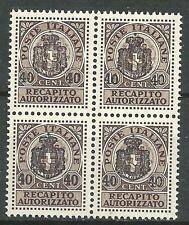 Italy 1945 Sc# EY3 set Authorised delivery overpr Arms 40/10c block 4 MNH