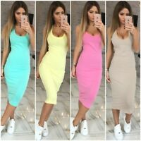Fashion Women's Solid Sleeveless Long Dress Pencil Dress Summer Spring Crew Neck