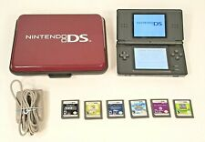NINTENDO DS LITE BLACK CONSOLE BUNDLE WITH 6 GAMES, HARD CASE, TESTED