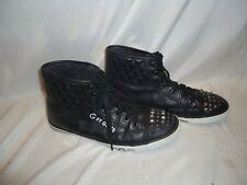 G By Guess MEn'S Black High Top Stud toe Sneakers Shoes  10M      preowned !!