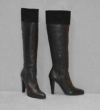 D0 NEW MIU MIU Black Calf Leather Half Zip Knee High Heels Boots Shoes Size 37