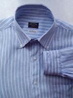 ✔Paul & Shark Yachting  Linen Shirt Blue Striped Long Sleeve Size 40