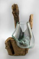 Mundgeblasenes Glas auf Echtholzwurzel / UNIKAT / Vase, Bowle, Glas