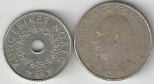 2 DIFFERENT 5 KRONE COINS from NORWAY - 1964 & 1998 (2 DIFFERENT TYPES)