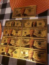 Donald Trump Gold US bill sets with Trump envelope! $1,2,5,10,20,50,100, & 2020!