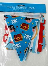 2pc PIRATE PARTY BANNER HAPPY BIRTHDAY + BUNTING Flag GIRLs kids child BOY
