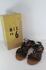 "Mix NO. 6 ""Vayma"" Black Knotted Wrap Strappy Boho-Chic Flat Sandal...size 6"